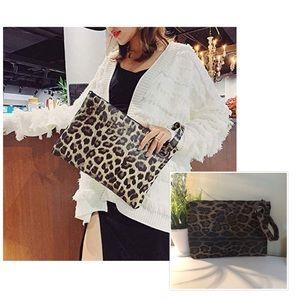 Handbags - Womens Oversized Clutch Leather Wristlet Handbag
